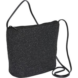 Paper straw and Mix Lurex two-tone crossbody
