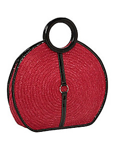 Milan Straw Top Handle Bracelet Round Bag by Magid