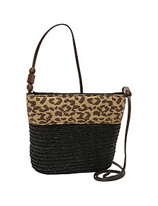 Milan Straw Leopard Trim Crossbody by Magid
