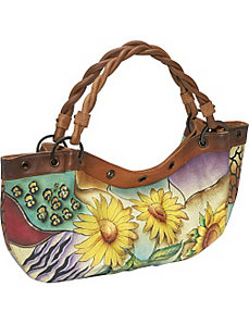 Large Rouched Hobo: Sunflower Safari by Anuschka
