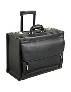 Leather Wheeled Laptop Catalog Case by AmeriLeather