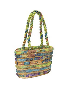 Straw Bag With Assorted Fabrics by Cappelli