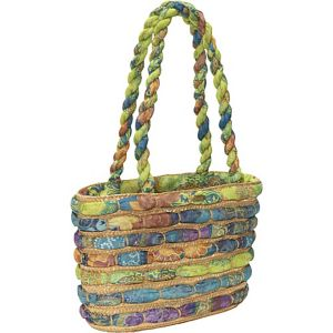 Straw Bag With Assorted Fabrics