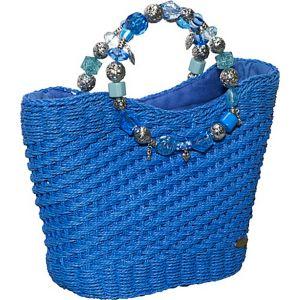 Woven Toyo Bag With Beaded Handle