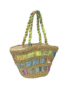 Straw Handbag With Assorted Fabric by Cappelli