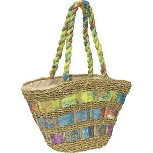 Straw Handbag With Assorted Fabric