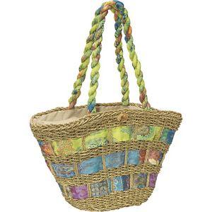 Straw Handbag With Assorted Fabric