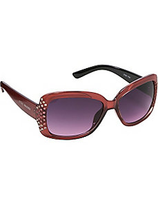 Rectangular Stone Embellished Sunglasses by Steve Madden Sunwear