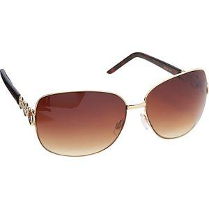 Rectangular Oversized Metal Sunglasses