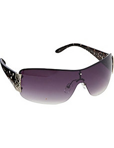Stone Embellished Animal Print Sunglasses by Steve Madden Sunwear