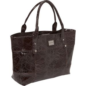 Crinkled Patent Laptop Tote