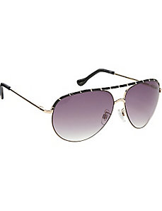 Epoxy Pinhead Embellished Aviator Sunglasses by Jessica Simpson
