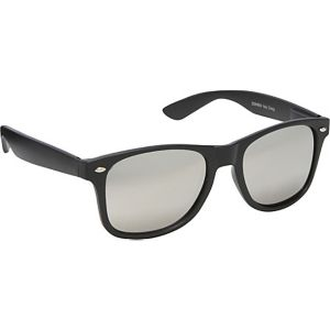 Wayfarer Sunglasses Solid Black with Mirror Reflec