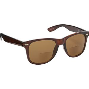 Wayfarer Fashion Sunglasses Brown with Vision Powe