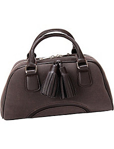Chestnut Faux Leather Satchel Handbag Purse by Flying Daisies