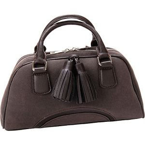 Chestnut Faux Leather Satchel Handbag Purse