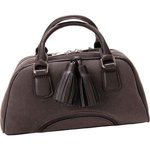 Chestnut Faux Leather Satchel Handbag Purse