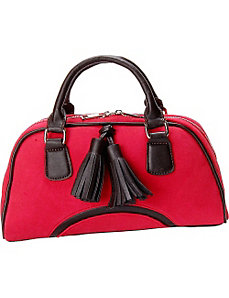 Cherry Red Faux Suede Satchel Handbag Purse by Flying Daisies