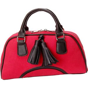 Cherry Red Faux Suede Satchel Handbag Purse