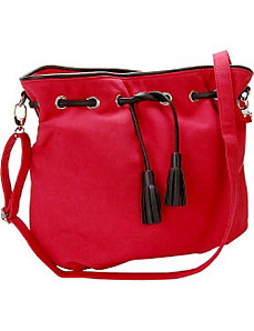 Cherry Red Faux Suede Crossbody Handbag by Flying Daisies