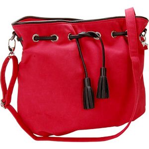 Cherry Red Faux Suede Crossbody Handbag