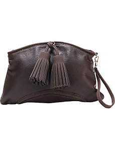 Chestnut Faux Leather Clutch Handbag Purse by Flying Daisies
