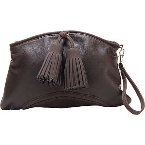 Chestnut Faux Leather Clutch Handbag Purse