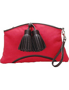 Cherry Red Faux Suede Handbag Clutch Purse by Flying Daisies