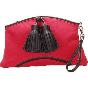 Cherry Red Faux Suede Handbag Clutch Purse