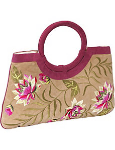 Embroidered Suede Bag by Moyna Handbags