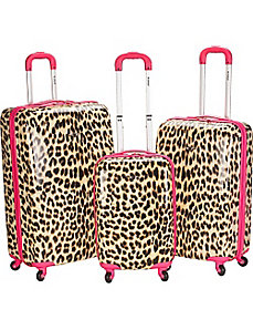 Leopard 3 Piece Hardside Spinner Set by Rockland Luggage