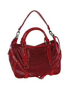 Checked Rectangle Pu Satchel With Patent Trim by B. Collective