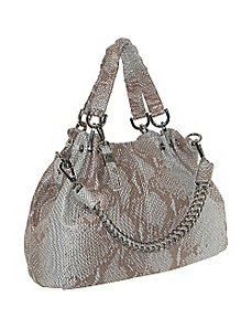 Leather Snake Skin Satchel With Chain Shoulder Str by B. Collective