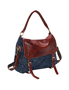 Hayes Denim/Leather Hobo by AmeriLeather