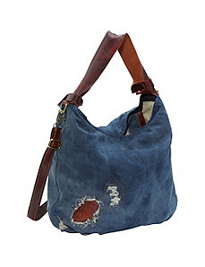 Burke Ripped Denim/Leather Trim Hobo by AmeriLeather