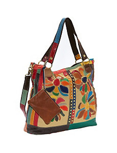 Rosalie Canvas/Leather Tote by AmeriLeather