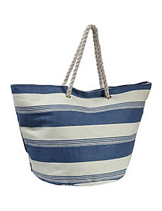Striped Straw Tote by Earth Axxessories