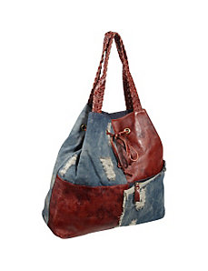 Trisha Leather/Ripped Denim Tote by AmeriLeather