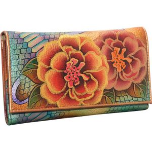 Check Book Wallet/Clutch - Patchwork Garden