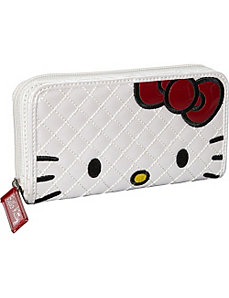 Hello Kitty Qilted Face Wallet-White by Loungefly
