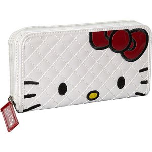 Hello Kitty Qilted Face Wallet-White