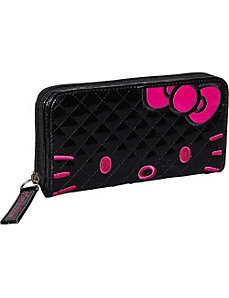 Hello Kitty Qulited Face Wallet-Black by Loungefly