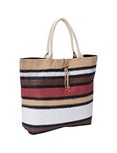 Striped Jute Tote Bag by Earth Axxessories