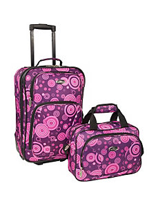 Purple Bubbles 2-Piece Carry-on Luggage Set by U.S. Traveler