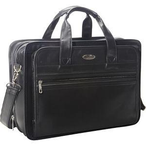 Expandable Leather Top-Zip Laptop Bag