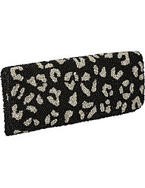 Beaded Evening Clutch Leopard Print by Moyna Handbags
