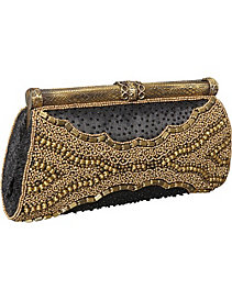 Framed Clutch w/ Mix Metal Beads by Moyna Handbags