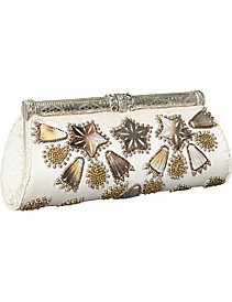 Framed Clutch w/ MOP & Metal Beads by Moyna Handbags