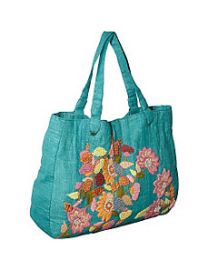 Tote w/ Large Burlap Wool Flower by Moyna Handbags