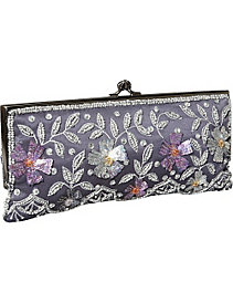 Framed Clutch w/ Sequin Flowers and Leaves by Moyna Handbags